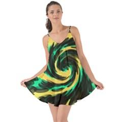Swirl Black Yellow Green Love The Sun Cover Up