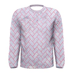 Brick2 White Marble & Pink Watercolor (r) Men s Long Sleeve Tee
