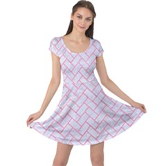Brick2 White Marble & Pink Watercolor (r) Cap Sleeve Dress