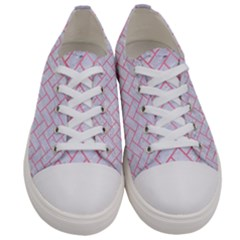 Brick2 White Marble & Pink Watercolor (r) Women s Low Top Canvas Sneakers