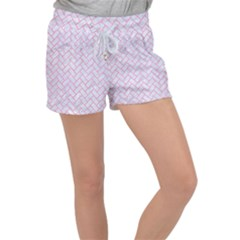 Brick2 White Marble & Pink Watercolor (r) Women s Velour Lounge Shorts