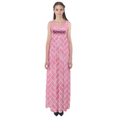 Brick2 White Marble & Pink Watercolor Empire Waist Maxi Dress