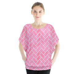 Brick2 White Marble & Pink Watercolor Blouse