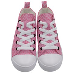 Brick2 White Marble & Pink Watercolor Kid s Mid Top Canvas Sneakers