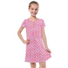 Brick2 White Marble & Pink Watercolor Kids  Cross Web Dress