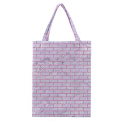 Brick1 White Marble & Pink Watercolor (r) Classic Tote Bag