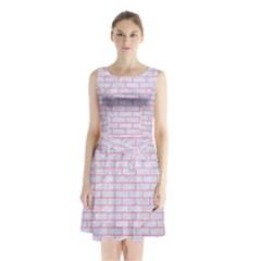 Brick1 White Marble & Pink Watercolor (r) Sleeveless Waist Tie Chiffon Dress
