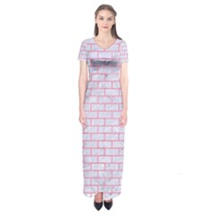 Brick1 White Marble & Pink Watercolor (r) Short Sleeve Maxi Dress