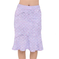 Brick1 White Marble & Pink Watercolor (r) Mermaid Skirt
