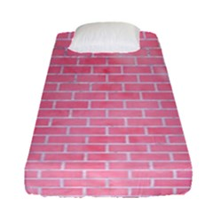 Brick1 White Marble & Pink Watercolor Fitted Sheet (single Size)