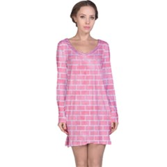Brick1 White Marble & Pink Watercolor Long Sleeve Nightdress