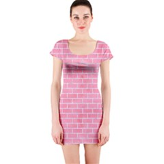 Brick1 White Marble & Pink Watercolor Short Sleeve Bodycon Dress