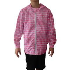 Brick1 White Marble & Pink Watercolor Hooded Windbreaker (kids)
