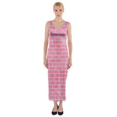 Brick1 White Marble & Pink Watercolor Fitted Maxi Dress