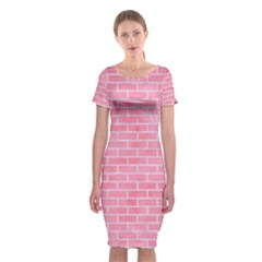 Brick1 White Marble & Pink Watercolor Classic Short Sleeve Midi Dress