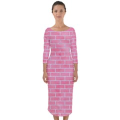 Brick1 White Marble & Pink Watercolor Quarter Sleeve Midi Bodycon Dress