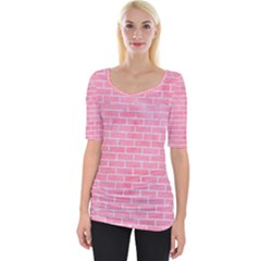 Brick1 White Marble & Pink Watercolor Wide Neckline Tee