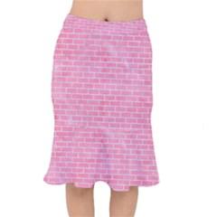 Brick1 White Marble & Pink Watercolor Mermaid Skirt