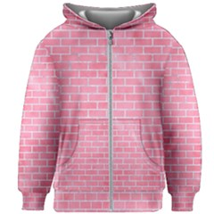 Brick1 White Marble & Pink Watercolor Kids Zipper Hoodie Without Drawstring