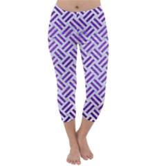 Woven2 White Marble & Purple Brushed Metal (r) Capri Winter Leggings