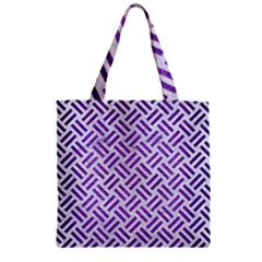 Woven2 White Marble & Purple Brushed Metal (r) Zipper Grocery Tote Bag by trendistuff