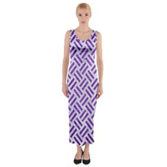 Woven2 White Marble & Purple Brushed Metal (r) Fitted Maxi Dress