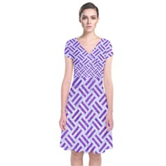 Woven2 White Marble & Purple Brushed Metal (r) Short Sleeve Front Wrap Dress