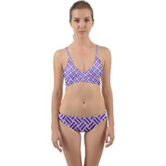 Woven2 White Marble & Purple Brushed Metal (r) Wrap Around Bikini Set