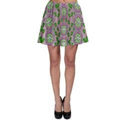 Ivy And  Holm Oak With Fantasy Meditative Orchid Flowers Skater Skirt
