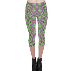 Ivy And  Holm Oak With Fantasy Meditative Orchid Flowers Capri Leggings  by pepitasart