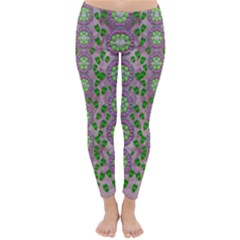 Ivy And  Holm Oak With Fantasy Meditative Orchid Flowers Classic Winter Leggings