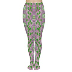 Ivy And  Holm Oak With Fantasy Meditative Orchid Flowers Women s Tights