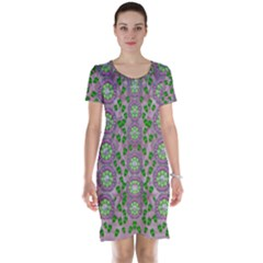 Ivy And  Holm Oak With Fantasy Meditative Orchid Flowers Short Sleeve Nightdress
