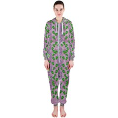 Ivy And  Holm Oak With Fantasy Meditative Orchid Flowers Hooded Jumpsuit (ladies)