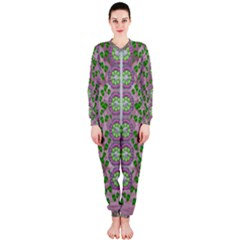 Ivy And  Holm Oak With Fantasy Meditative Orchid Flowers Onepiece Jumpsuit (ladies)