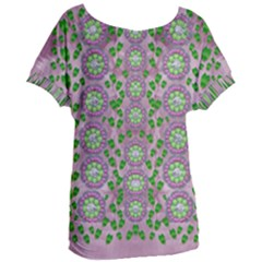 Ivy And  Holm Oak With Fantasy Meditative Orchid Flowers Women s Oversized Tee