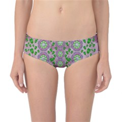 Ivy And  Holm Oak With Fantasy Meditative Orchid Flowers Classic Bikini Bottoms by pepitasart