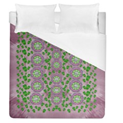 Ivy And  Holm Oak With Fantasy Meditative Orchid Flowers Duvet Cover (queen Size) by pepitasart