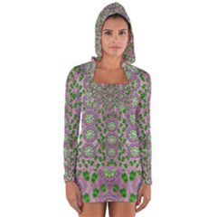 Ivy And  Holm Oak With Fantasy Meditative Orchid Flowers Long Sleeve Hooded T Shirt