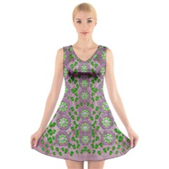 Ivy And  Holm Oak With Fantasy Meditative Orchid Flowers V Neck Sleeveless Dress