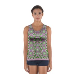 Ivy And  Holm Oak With Fantasy Meditative Orchid Flowers Sport Tank Top