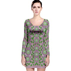 Ivy And  Holm Oak With Fantasy Meditative Orchid Flowers Long Sleeve Velvet Bodycon Dress