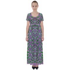 Ivy And  Holm Oak With Fantasy Meditative Orchid Flowers High Waist Short Sleeve Maxi Dress