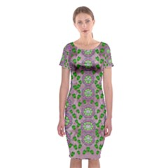 Ivy And  Holm Oak With Fantasy Meditative Orchid Flowers Classic Short Sleeve Midi Dress