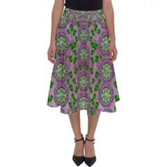 Ivy And  Holm Oak With Fantasy Meditative Orchid Flowers Perfect Length Midi Skirt