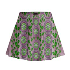 Ivy And  Holm Oak With Fantasy Meditative Orchid Flowers Mini Flare Skirt