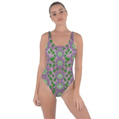 Ivy And  Holm Oak With Fantasy Meditative Orchid Flowers Bring Sexy Back Swimsuit