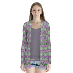 Ivy And  Holm Oak With Fantasy Meditative Orchid Flowers Drape Collar Cardigan