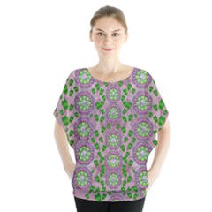 Ivy And  Holm Oak With Fantasy Meditative Orchid Flowers Blouse