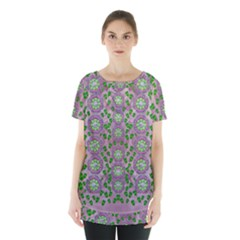 Ivy And  Holm Oak With Fantasy Meditative Orchid Flowers Skirt Hem Sports Top